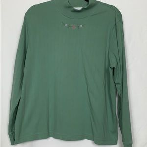 Alfred Dunner green turtleneck top size XL
